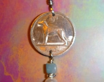 Greyhound coin travel memory necklace embellished with pearl, rhinestone and amazonite