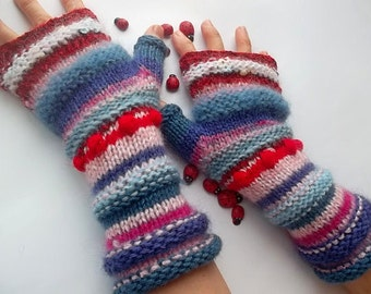 HAND KNITTED GLOVES / Women Accessories Fingerless Mittens Striped Warm Wrist Warmers  Crochet Winter Arm Romantic Cabled Gift Feminine 1105
