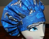 Star Wars on Blue Banded Bouffant Surgical Cap  Ready to Ship
