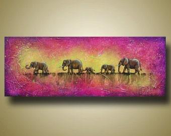 Elephant Herd Painting - Purple and Yellow Art - Elephant Painting - Large Sofa Art - 18x48 by Britt Hallowell