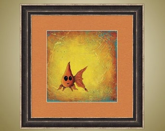 PRINT or GICLEE Reprodction -- Cute Happy Goldfish Print, Bright Colors, Yellow Art -- Goldie