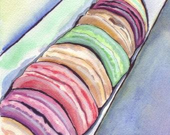 Macarons no. 2 Watercolor Painting - Macarons in a Long Box Watercolor Art Print, 8x10