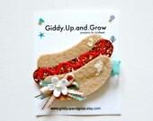 Hot Dog Glitter Hair Clip Summer giddyupandgrow