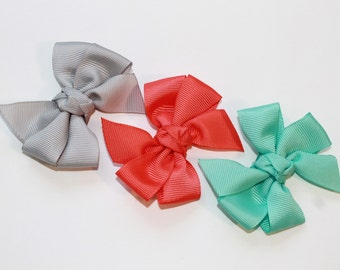 Summer Solids Pinwheel Hair Bows for baby and girls