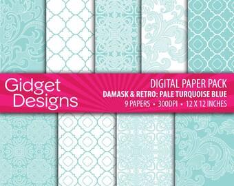 Blue Digital Paper Pack Damask Quatrefoil Patterns DIY Wedding Bridal Shower Engagement Announcement Save the Date