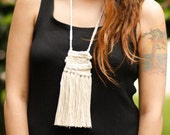Alicia | Ivory Woven Fiber Art Wearable Art Tapestry Fringe Tassel Necklace
