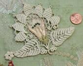Antique silk rayon embroidered flower applique lace millinery trim pink peach ecru green art nouveau flapper