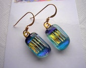 Earrings Blue with Gold Dichroic Fused Glass 14K Gold Shimmering Colors Dangle Drop Light-Catching Kiln Fired Handcrafted Jewelry Boho