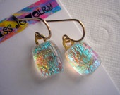Petite Earrings Dichroic Fused Glass Jewelry Aqua Fireworks Crystal Shimmer 14K Gold Small Iridescent Dangles Lightweight For Sensitive Ears