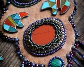 Jasper Bear Necklace - Polymer Clay Zuni Bear and colorful Jasper stone Tribal necklace and Earrings