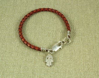 Hamsa Bracelet, Braided  Leather with Sterling Silver Charm. Leather Color brown, blue,black Wrap Bracelet Silver - ElenadE