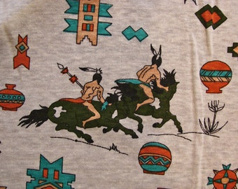 """Vintage Fabric 1960s Knit Fabric, Native American Indian Childrens Print 1 1/2 yard x 58"""" wide"""