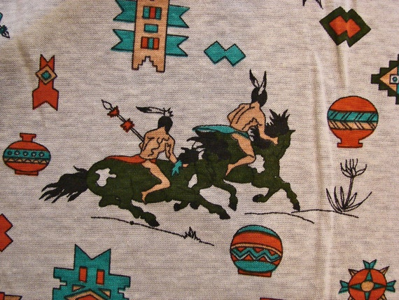 Vintage fabric 1960s knit fabric native american indian for Vintage childrens fabric prints