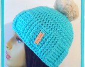 Turquoise Faux fur Crochet Slouch  loose fitting stylish woman hat pom pom
