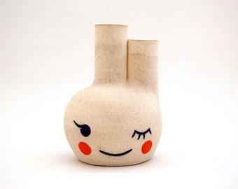 Ceramic Winking Beastie Bud Vase