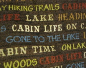 Cabins, Tents, Lakes with Blue Fleece Blanket - This Blanket is Ready to Ship Now