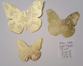 READY to SHIP SALE Floral 2 Tone Gold Metallic 3D Butterfly Wall Art Nora Style Cut  Baby Nursery Adhesive Included