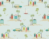 Aqua Teal Red and Green Beach Palm Tree Fabric, Offshore by Deena Rutter for Riley Blake Design, Main Print in Aqua, 1 Yard