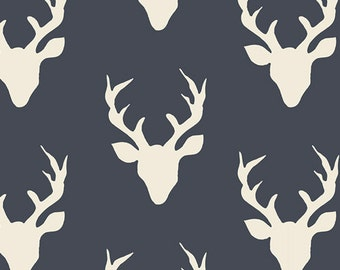 Navy Blue and Cream Deer Head Antler Jersey Knit Fabric, Hello Bear by Bonnie Christine for Art Gallery Fabrics, 1 yard Jersey KNIT