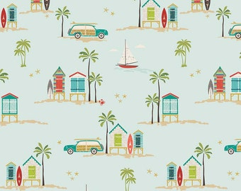 Aqua Teal Red and Green Beach Palm Tree Fabric, Offshore by Deena Rutter for Riley Blake Design, Main Print in Aqua, 1 Yard