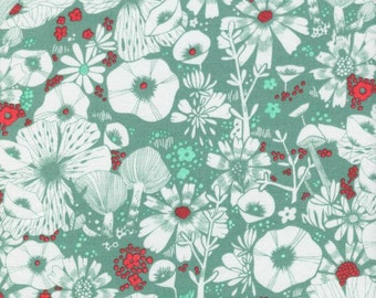 Mint Coral and Cream Floral Cotton Fabric, Cat Lady By Sarah Watts for Cotton and Steel, Purrfect Hiding Spot Blue, 1 Yard