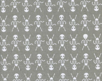 Grey and White Skeleton Cotton Fabric, Boo! by Rashida Coleman for Cotton and Steel, Skeleton Dance in Natural, 1 Yard