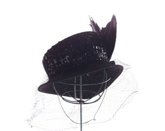 1930s-40s Black Tilt Hat ...aralac and wool with dramatic veiling, feathers, and sequins ...Military Equestrian style