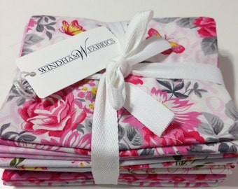 Pink Cancer Ribbon ANYTHING Is POSSIBLE Fabric Fat Quarter Bundle