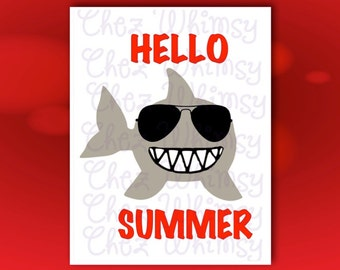 Shark SVG, Summer Shark with Sunglasses, Cutting Files, Vinyl Cutting Files, Cutting Machine Files