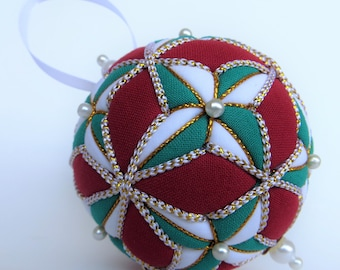 Christmas Ornament - Green and White 4 Pointed Stars on Dark Red Background with White and Gold Trim - Made to Order