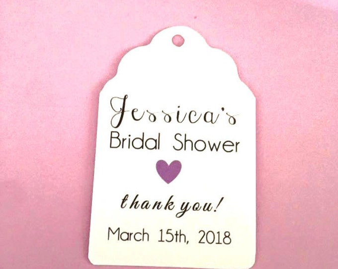 Custom Name Bridal Thank You tag with date choice, custom tags, gift tags, favor tags, thank you tags, party favors, bridal shower, baby