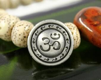 OM Metal Buttons , Antique Silver Color , Shank , 0.83 inch , 6 pcs