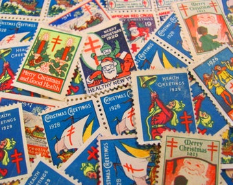Season's Greetings 50 Vintage Christmas Seals Megamix 1920s Tuberculosis Traditional American Lung Association Flapper Boardwalk Empire