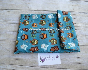 READY TO SHIP Hooty Owls n Blue Diaper Pouch, Ouch Pouch, Nappy Bag, Diaper Organizer