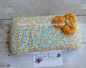 Vintage Inspired Mustard Yellow and Aqua Blue Rolled Flowers Travel Baby Wipe Case, Nappy Wipecase, Diaper Wipe Clutch, Baby Shower Gift