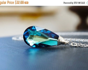 25OFFSALE Necklace, Crystal Necklace, Elemental Necklace, Water Necklace, Blue Necklace, Bermuda, Swarovski, No. SNCC009