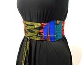 African Patchwork Corset Belt, One of a Kind art to wear, Unique African Patchwork Belt, OOAK Obi belt, Ankara wax Style, B Modiste Handmade