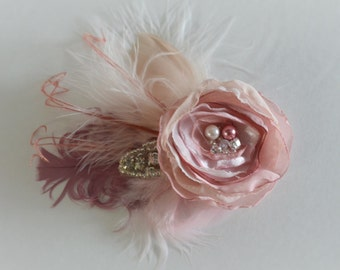 JULY SALE Bridal Blush and Dusty Rose Hair Flower, Flower Fascinator with feathers, Vintage Flower with rhinestones and pearls,Blush flower