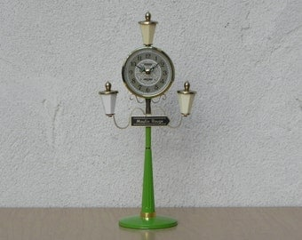 Green Moulin Rouge Lamp Post Alarm Clock by Citizen, Mint Condition, Wind Up