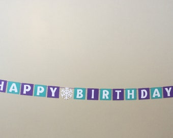 Small Snowflake Happy Birthday Banner Frozen READY TO SHIP