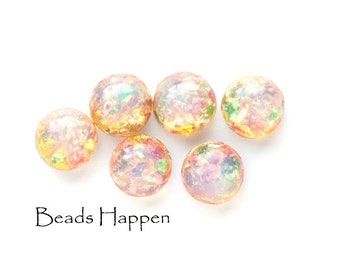 7mm Round Flat Back Fire Opal VINTAGE Round Cabochons from Japan, 7mm Cabochons Cabs, Fire opal, Fireopal, (D2-R1-C1), Quantity 6