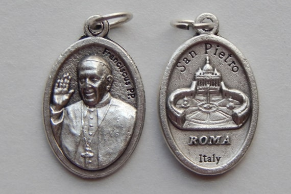 5 Patron Saint Medal Finding - Pope Francis, Franciscus, Die Cast Silverplate, Silver Color, Oxidized Metal, Italy Made, San Pietro, RM408