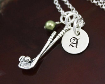 Golfer Necklace   Sterling Silver Personalized Golf Jewelry