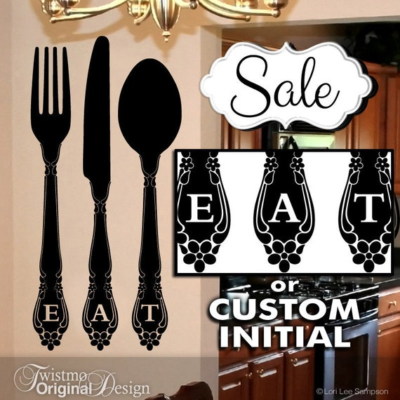 Kitchen Wall Decor Eat : Eat kitchen wall decor vinyl decal large fork and by