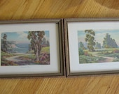 2 Small Prints vintage color landscapes wood frames