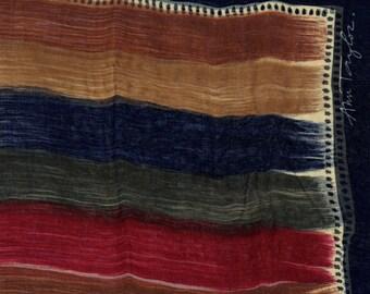 Sheer Beauty Ann Taylor navy rust scarf long tan
