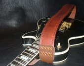 "Handmade Leather Guitar Strap. Hand carved. ""Classic"""