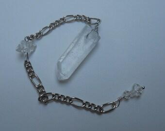 clear quartz and herkimer diamond pendulum