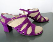 1960s sandals Purple suede strappy sandals Italy 8.5 M