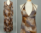 vintage 1970s nightgown • maxi dress & robe sleepwear ABSTRACT ANIMAL print